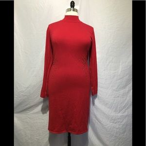 Red Turtleneck Long Sleeve Midi